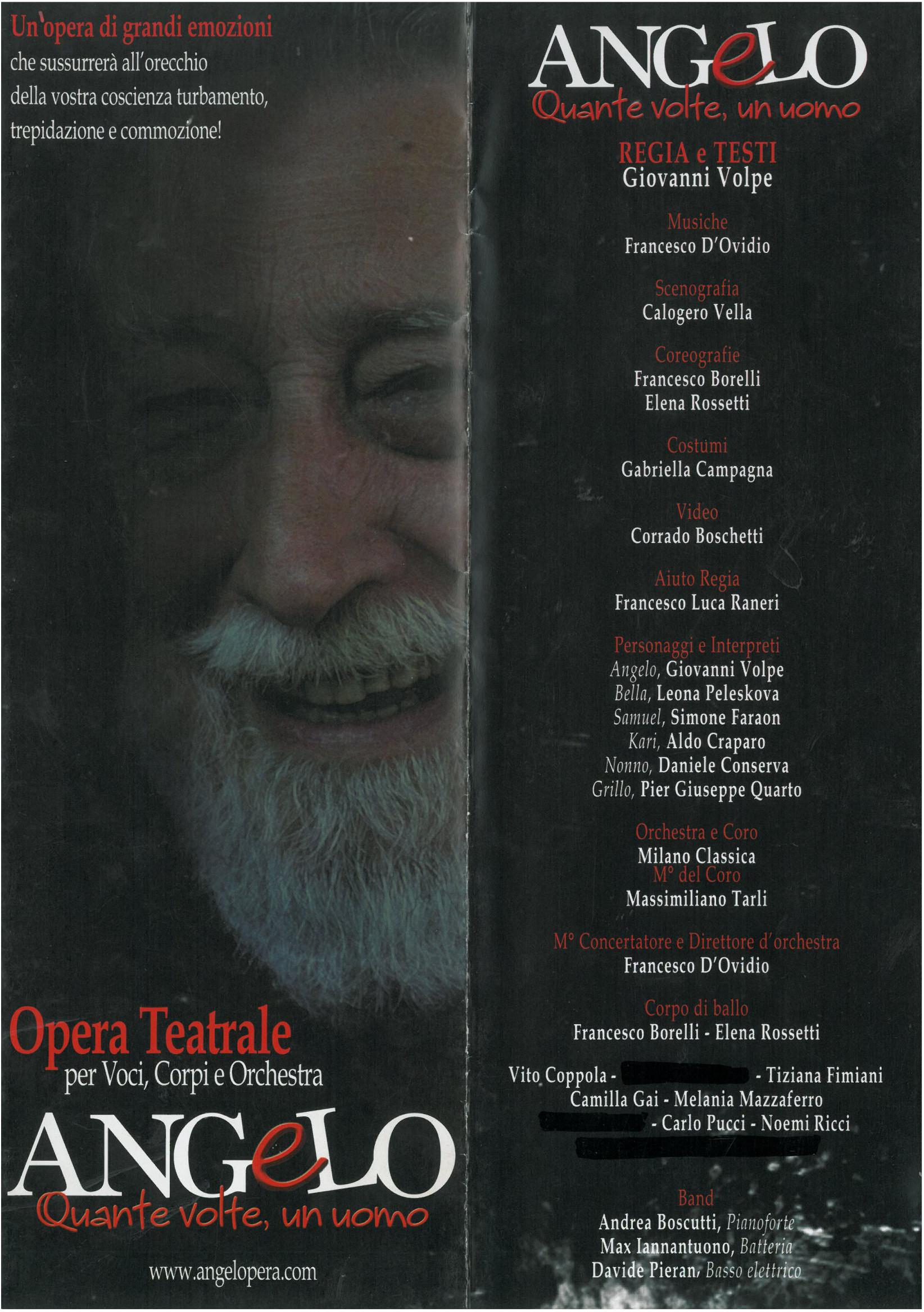 ANGELO Quante volte, un uomo – Opera Teatrale per Voci, Corpi e Orchestra